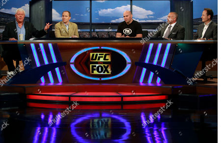 From left, David Hill, chief executive of Fox Sports, Eric Shanks, FSMG president, Dana White, UFC president, Lorenzo Fertitta, chairman and CEO of UFC, and John Landgraf, president of FX Networks, announce a multi-year, multi-platform agreement between Ultimate Fighting Championship (UFC) and Fox Media Group, at a news conference at Fox Studios in Los Angeles . The first of four mixed martial arts live events will air Saturday, Nov. 12, 2011