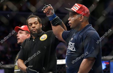 Daniel Cormier, Frank Mir Daniel Cormier, right, has his arm raised by referee Herb Dean after beating Frank Mir, left, in a UFC heavyweight mixed martial arts fight in San Jose, Calif., . Cormier won by unanimous decision