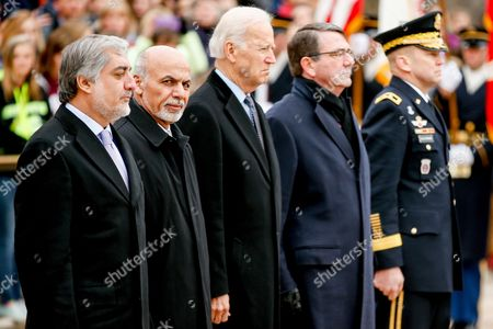 Ashraf Ghani Ahmadzai, Abdullah Abdullah, Joe Bidden, Ash Carter, Jeffery Buchanan From left, Afghanistan's Chief Executive Officer Abdullah Abdullah, Afghanistan's President Ashraf Ghani, Vice President Joe Bidden, Defense Secretary Ash Carter, and Maj. Gen. Jeffrey Buchanan, commanding general, U.S. Army Military District of Washington, stand together during a wreath laying ceremony at the Tomb of the Unknowns, at Arlington National Cemetery in Arlington, Va