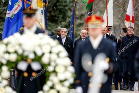 Ashraf Ghani Ahmadzai, Abdullah Abdullah, Joe Bidden, Ash Carter From left, Afghanistan's Chief Executive Officer Abdullah Abdullah, left, and Afghanistan's President Ashraf Ghani, Vice President Joe Bidden, and Defense Secretary Ash Carter, arrive for a wreath laying ceremony at the Tomb of the Unknowns, at Arlington National Cemetery in Arlington, Va
