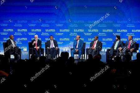 """Donald Kaberuka, Ajay Banga, Tony Elumelu, James Mwangi, David Rubenstein, Sim Tshabalala, Mo Ibrahim From left, Donald Kaberuka, president of the African Development Bank, moderates the session, """"Open Markets: Financing the Africa of Tomorrow"""" with David Rubenstein, CEO of The Carlyle Group, Sim Tshabalala, joint chief executive of Standard Bank, Mo Ibrahim, founder and chair of Mo Ibrahim Foundation, James Mwangi, CEO of Equity Bank Group, Ajay Banga, CEO of MasterCard, and Tony Elumelu, chairman of Heirs Holdings Limited, during the US Africa Business Forum part of the US Africa Leaders Summit in the Mandarin Oriental Hotel in Washington, . Nearly 50 African heads of state are gathering in Washington for an unprecedented summit"""