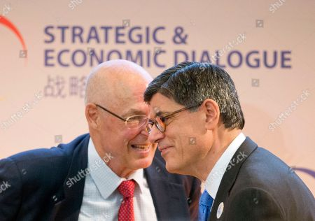Henry Paulson, Jack Lew Former Treasury Secretary Henry Paulson, left, and Treasury Secretary Jack Lew, right, meet on stage at the 7th US China Strategic and Economic Dialogue (S&ED) and 6th Consultation on People-to-People (CPE) at the US State Department in Washington