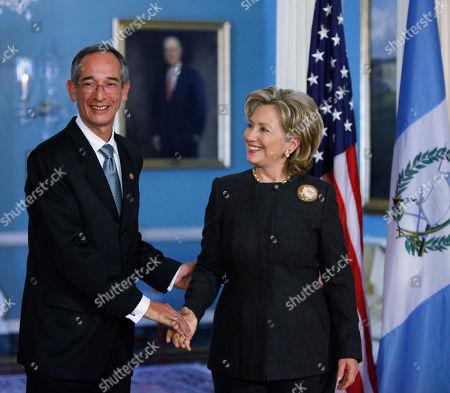 Hillary Rodham Clinton, Alvaro Colom Caballeros Secretary of State Hillary Rodham Clinton and Guatemalan President Alvaro Colom Caballeros meet at the State Department in Washington