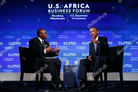 Barack Obama, Takunda Ralph Michael Chingonzo President Barack Obama participates in a discussion with Takunda Ralph Michael Chingonzo of Zimbabwe, co-founder of a start-up working to bring free Internet access to the public, at the US Africa Business Forum during the US Africa Leaders Summit, at the Mandarin Oriental Hotel in Washington. African heads of state are gathering in Washington for an unprecedented summit to promote business development