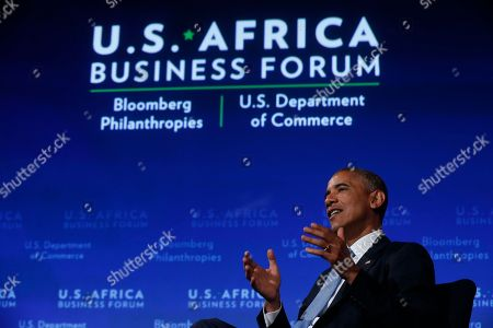Barack Obama President Barack Obama participates in a discussion with Takunda Ralph Michael Chingonzo of Zimbabwe, co-founder of a start-up working to bring free Internet access to the public, at the US Africa Business Forum at the US Africa Leaders Summit at the Mandarin Oriental Hotel in Washington, . African heads of state are gathering in Washington for an unprecedented summit to promote business development