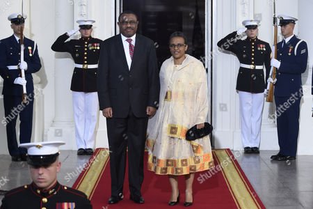 Stock Image of Hailemariam Desalegn Boshe, Roman Tesfaye Ethiopia Prime Minister Hailemariam Desalegn Boshe and first lady Roman Tesfaye, arrive for a dinner hosted by President Barack Obama for the U.S. Africa Leaders Summit, . African heads of state are gathering in Washington for an unprecedented summit to promote business development