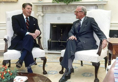 Ronald Reagan; Lord Carrington; Peter Carrington US President ronald reagan meets with NATO (North Atlantic Treaty Organization) Secretary General Lord Carrington, right, in the White House Oval Office on in Washington, D.C., United States