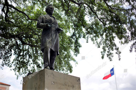 In this photo, a statue of Jefferson Davis is seen on the University of Texas campus in Austin, Texas. Bill Powers won't be the University of Texas at Austin president who decides whether to keep a statue of Jefferson Davis, a tribute to the president of the Confederacy, on campus