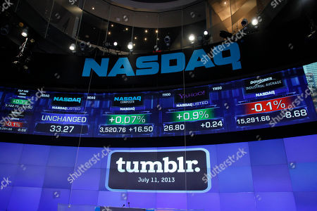 David Karp The Tumblr logo is displayed at Nasdaq, in New York. Yahoo acquired the online blogging forum for $1.1 billion in June