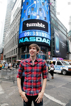 David Karp David Karp, Founder and CEO of Tumblr, poses for photos in front of Nasdaq in Times Square after ringing the opening bell, in New York. Yahoo acquired the online blogging forum for $1.1 billion in June. Tumblr will remain independently operated and Karp will stay CEO