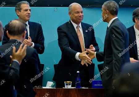 Barack Obama President Barack Obama shakes hands with Homeland Security Secretary Jeh Johnson as he leaves the State Department in Washington, after speaking to a high-level Ministerial as part of the White House Summit on Countering Violent Extremism. Undersecretary of State for Public Diplomacy and Public Affairs Richard Stengel is at left