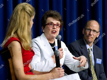 Billie Jean King, Bonnie Bernstein, Tom Perez Billie Jean King, with moderator and ESPN Broadcaster and former All-American gymnast Bonnie Bernstein, left, and Assistant Attorney General for Civil rights Tom Perez, speak during a forum in the South Court Auditorium at the White House in Washington during a gathering to celebrate the 40th anniversary of Title IX