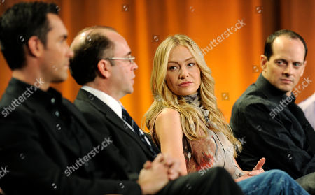 """Jay Harrington, Victor Fresco, Portia de Rossi, Jonathan Slavin Left to right, Jay Harrington, Victor Fresco, Portia de Rossi and Jonathan Slavin participate in a panel discussion on the ABC comedy series """"Better Off Ted"""" at the Television Critics Association Winter Press Tour in Los Angeles"""
