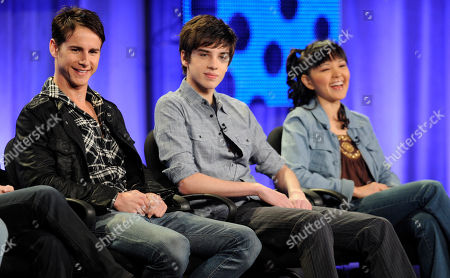 """Kelly Blatz, David Lambert, Tania Gunadi Left to right, Kelly Blatz, David Lambert and Tania Gunadi, stars of the Disney Channel series """"Aaron Stone,"""" participate in a panel discussion at the Television Critics Association Winter Press Tour in Los Angeles"""