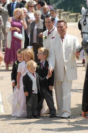Tony Barlow and Barrie Drewitt with children Saffron, Orlando and Aspen