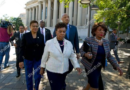 Maxine Waters Rep. Maxine Waters D-Calif., right, accompanied by fellow members of the Congressional Black Caucus (CBC), from left, Rep. Karen Bass, D-Calif., and Rep. Barbara Lee, D-Calif., walk in Pennsylvania Avenue in Washington, toward the Justice Department to deliver a letter to the Attorney General Loretta Lynch, expressing the deep concerns regarding the killing of Black men, women and children and to implore the Attorney General to use the power of her office to bring about prosecutions for the targeting and profiling of Black men, women and children