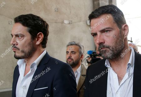 "Former trader Jerome Kerviel, right, and his lawyer David Koubbi, arrive at the Versailles appeal court, west of Paris, . A French court has cut the civil damages owed by former trader Jerome Kerviel from 4.9 billion euros ($5.5 billion) to 1 million euros ($1.1 million). Kerviel was ""partly responsible"" for huge losses suffered in 2008 by the bank Societe Generale through his reckless financial trades"