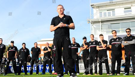 Chris Rogers, captain of Somerset speaks to  the crowd.