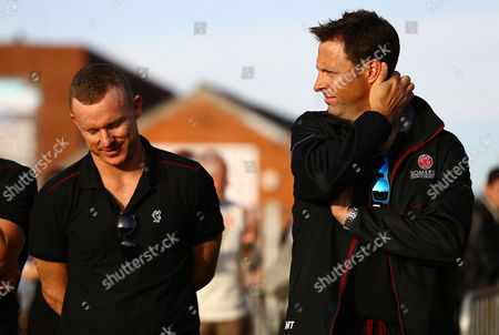 Chris Rogers and Marcus Trescothick of Somerset react after watching the climax of the Middlesex v Yorkshire match at the Cooper Associates County Ground, Taunton on 23rd September 2016