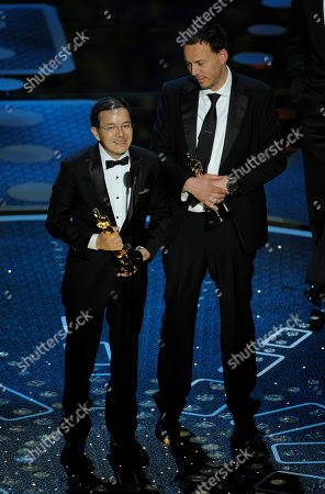 "Shaun Tan, left, and Andrew Ruhemann accept the Oscar for best animated short film for ""The Lost Thing"" at the 83rd Academy Awards, in the Hollywood section of Los Angeles"