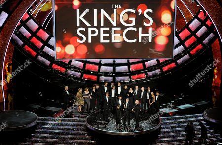 """Iain Canning, Emile Sherman and Gareth Unwin accept the Oscar for best motion picture for """"The King's Speech"""" at the 83rd Academy Awards, in the Hollywood section of Los Angeles"""