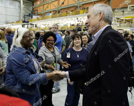 Jim McNerney Jr Boeing Co. CEO Jim McNerney Jr., right, greets workers prior to a rally at Boeing Co.'s 767 assembly plant, in Everett, Wash. The rally was held to celebrate Boeing winning a $35 billion Air Force contract for a new aerial tanker fleet