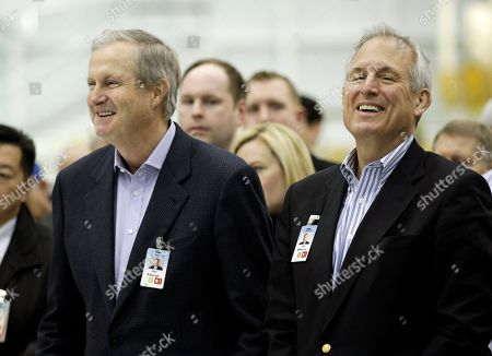 Jim McNerney Jr., Jim Albaugh Boeing Commercial Airlines CEO Jim Albaugh, left, and Boeing Co. CEO Jim McNerney Jr., right, smile at a rally at Boeing Co.'s 767 assembly plant, in Everett, Wash. The rally was held to celebrate Boeing winning a $35 billion Air Force contract for a new aerial tanker fleet