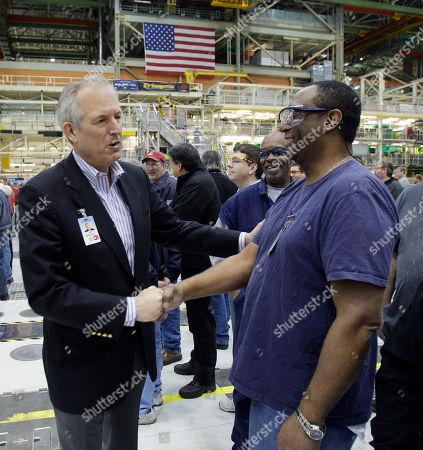 Jim McNerney Jr Boeing Co. CEO Jim McNerney Jr., left, greets workers prior to a rally at Boeing Co.'s 767 assembly plant, in Everett, Wash. The rally was held to celebrate Boeing winning a $35 billion Air Force contract for a new aerial tanker fleet