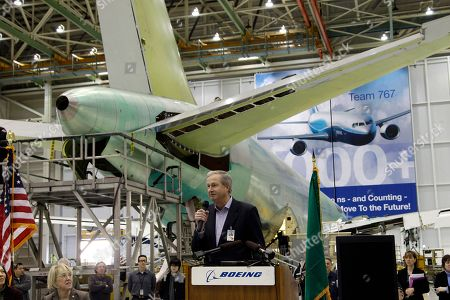 Jim Albaugh Boeing Commercial Airlines CEO Jim Albaugh, speaks in front of a Boeing 767 a rally at Boeing Co.'s 767 assembly plant, in Everett, Wash. The rally was held to celebrate Boeing winning a $35 billion Air Force contract for a new aerial tanker fleet
