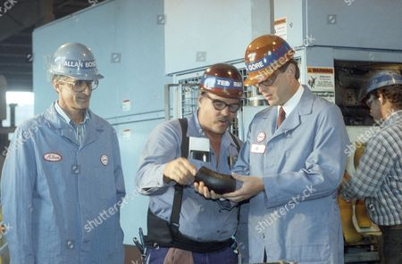Al Gore Democratic vice presidential Al Gore is shown an iron pipe produced at American Brass and Iron during a tour of the environmentally safe plant in Oakland, California, . Employee Ted Ray (center) explains the operation of the molding machine to him as Allan Boscacci, left, looks on
