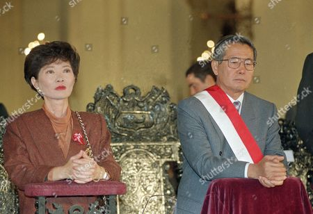 Peruvian President Alberto Fujimori and first lady Susana Higuchi during the Independence Day celebrations on in Lima, Peru
