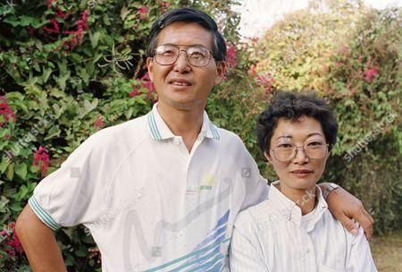 Alberto Fujimori, Peruvian presidential candidate with wife Susana Higuchi on