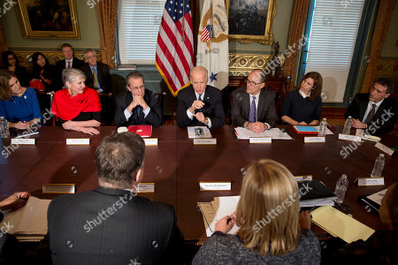 Joe Biden, Marie Lynch, Marlena Sessions, Gene Sperling, Thomas Perez, Stefani Pashman, Plinio Ayala Vice President Joe Biden, center, speaks to CEO's during their meeting in the Eisenhower Executive Office Building in Washington, . From left are Marie Lynch, President/CEO, Skills for Chicagoland's Future, Marlena Sessions, CEO, Seattle/King County (Workforce Investment Board), Gene Sperling, Assistant to the President for Economic Policy and Director of National Economic Council, Vice President Biden, Labor Secretary Thomas Perez, Stefani Pashman, CEO, Pittsburgh (Workforce Investment Board), and Plinio Ayala, President/CEO, Per Scholas