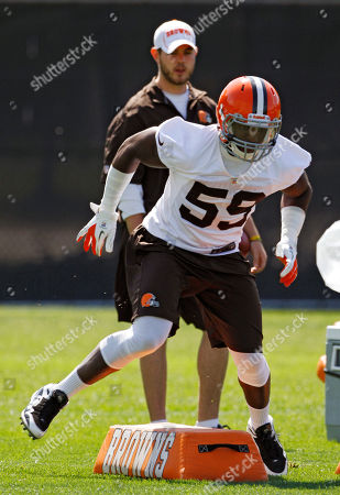 Emmanuel Acho Cleveland Browns rookie linebacker Emmanuel Acho runs a drill during practice at the NFL football team's headquarters in Berea, Ohio