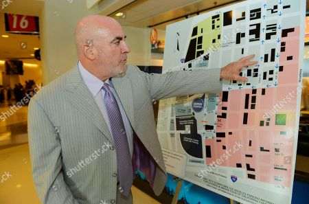 Stock Image of Lee Zeidman Lee Zeidman, senior vice president and general manager of the Staples Center, talks to members of the media in Los Angeles, . Zeidman explained how the arena will manage six playoff games and one cycling race in four days
