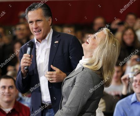 "Stock Image of Mitt Romney, Ann Romney Ann Romney, wife of Republican presidential candidate, former Massachusetts Gov. Mitt Romney, laughs with him as he speaks at a town hall meeting at Taylor Winfield in Youngstown, Ohio. To the yearbook editors at the all-girl Kingswood School, Ann Lois Davies' destiny seemed pretty obvious. ""The first lady,"" the entry beside the stunning blond beauty's photo in the 1967 edition of ""Woodwinds"" concluded. ""Quiet and soft spoken."" The modern feminist movement was just dawning, and even some of the girls at the staid prep school in the wealthy Detroit suburb of Bloomfield Hills were feeling their oats _ if in a somewhat tame way. Charlon McMath Hibbard remembers getting a doctor's note about her feet, so she wouldn't have to wear the obligatory saddle Oxfords"