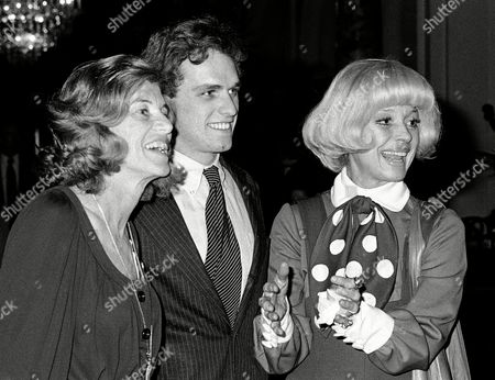 Actress Carol Channing, right, gestures as she arrives at a Boston Hotel, with Eunice Shriver, left, and Joseph Kennedy, center, son of the late Sen. Robert F. Kennedy, for a fundraising tea for Democratic presidential candidate Sargent Shriver