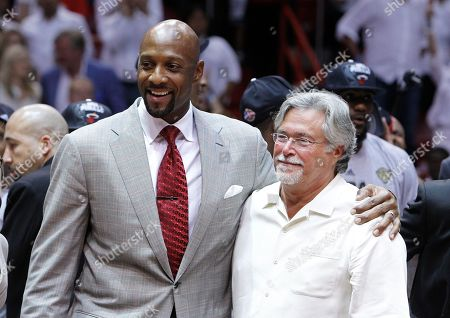 Alonzo Mourning, Micky Arison Former Miami Heat player Alonzo Mourning and Heat President Micky Arison during the Eastern Conference trophy presentation, in Miami