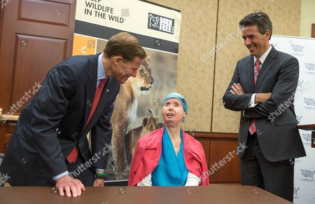 Richard Blumenthal, Wayne Pacelle, Charla Nash Sen. Richard Blumenthal, D-Conn., left, and Wayne Pacelle, president and CEO of the Humane Society of the United States, right, talk with Charla Nash during a news conference on Capitol Hill in Washington, . Nash was mauled by a pet chimp and had to undergo a face transplant. She is now advocating for a bill to be passed that would ban the interstate trade of primates as pets