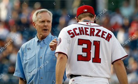 Max Scherzer, Ray Mabus Ray Mabus, Secretary of the Navy, left, reacts with Washington Nationals starting pitcher Max Scherzer after delivering the game ball before a baseball game against the Chicago Cubs at Nationals Park, in Washington