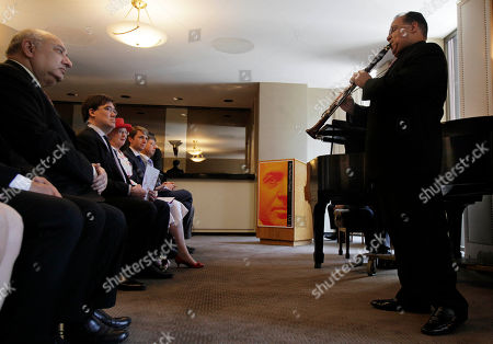 Queen Margrethe II, Alan Gilbert, Zarin Mehta, Jari Frijs-Madfen Danish Queen Margrethe II listens to Riccardo Morales play the clarinet during her visit to New York's Lincoln Center, . Seated, from left, are Zarin Mehta, President and Executive Director of the New York Philharmonic, Alan Gilbert Music Director of the Philharmonic, and Jari Frijs-Madfen, Danish Consul General in New York