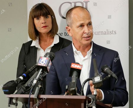 Stock Photo of Peter Greste Al Jazeera journalist Peter Greste, right, answers questions during a news conference along with journalist Sue Turton, in New York. Greste and Turton, along with Al Jazeera English senior producer Dominic Kane are in the process of requesting a pardon from Egyptian President Abdel Fatah al-Sissi after having been convicted in absentia by Egypt's courts of aiding terrorist organizations by disseminating false news