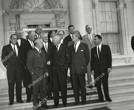 Dwight Eisenhower, Charles Halleck, Everett Dirksen, Leslie Arends, Wilton Persons, Charles Hoeven, Bryce Harlow, Leo Allen, Thurston Morton President Dwight D. Eisenhower poses with Republican leaders in the House and Senate on the North Portico steps of the White House, in Washington. Left to right, first row: Rep. Charles Halleck of Indiana; Eisenhower; and Sen. Everett Dirksen of Illinois. Back, left to right: Rep. Leslie Arends of Illinois; Wilton Persons, assistant to Eisenhower; Rep. Charles Hoeven of Iowa; Bryce Harlow, deputy assistant to Eisenhower; Rep. Leo Allen of Illinois, Sen. Thurston Morton of Kentucky, and Rep. John Byrnes of Wisconsin