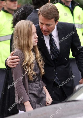 John Edwards Former Democratic presidential candidate John Edwards comforts his daughter Emma Claire as they leave the funeral service for Elizabeth Edwards at Edenton Street United Methodist Church in Raleigh, N.C., . Edwards died Tuesday of cancer at the age of 61