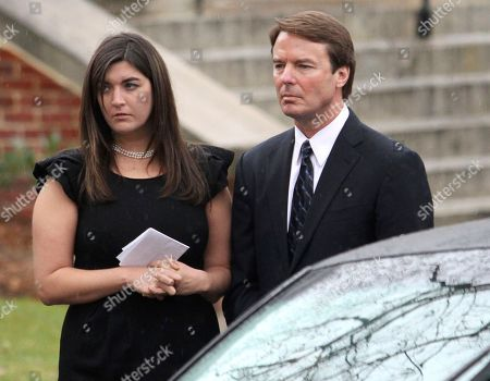 Stock Photo of John Edwards Cate Edwards and her father John Edwards watch as the casket of Elizabeth Edwards is loaded into the hearse following funeral services at Edenton Street United Methodist Church in Raleigh, N.C., . Edwards died Tuesday of cancer at the age of 61