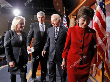 """Joseph Lieberman, Susan Collins, Mark Udall, Kirsten Gillibrand Sen. Kirsten Gillibrand, D-N.Y., from left, Sen. Mark Udall, D-Colo., Sen. Joseph Lieberman, I-Conn., and Sen. Susan Collins, R-Maine., leave after a news conference about the passage of the """"Don't Ask Don't Tell"""" bill during a rare Saturday session on Capitol Hill in Washington . In a landmark for gay rights, the Senate voted Saturday to let gays serve openly in the military, giving President Barack Obama the chance to fulfill a campaign promise and repeal the 17-year policy"""