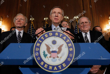 """Joe Lieberman, Harry Reid, Carl Levin Senate Majority Leader Sen. Harry Reid, D-Nev., center, with Sen. Joe Lieberman, I-Conn., left, and Sen. Carl Levin, D-Mich., speaks at a news conference about the """"Don't Ask Don't Tell"""" bill during on an unusual Saturday session on Capitol Hill in Washington . Repeal of the bill would mean that, for the first time in American history, gays would be openly accepted by the military. Reid said a final vote would come at 3 p.m"""