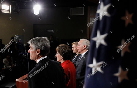 """Joseph Lieberman, Susan Collins, Mark Udall, Kirsten Gillibrand Sen. Mark Udall, D-Colo., from left, Sen. Susan Collins, R-Maine., Sen. Kirsten Gillibrand, D-N.Y., and Sen. Joseph Lieberman, I-Conn., speak during a news conference about the passage of the """"Don't Ask Don't Tell"""" bill during an unusual Saturday session on Capitol Hill in Washington"""