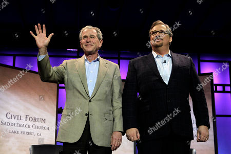 George W. Bush, Rick Warren Former President George W. Bush, left, and pastor Rick Warren acknowledge audience members during the Saddleback Civil Forum on Leadership and Service in Lake Forest, Calif