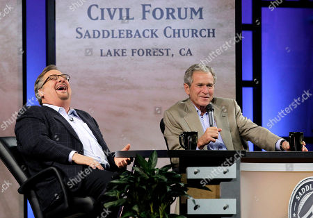 George W. Bush, Rick Warren Pastor Rick Warren, right, laughs as former President George W. Bush speaks during the Saddleback Civil Forum on Leadership and Service in Lake Forest, Calif